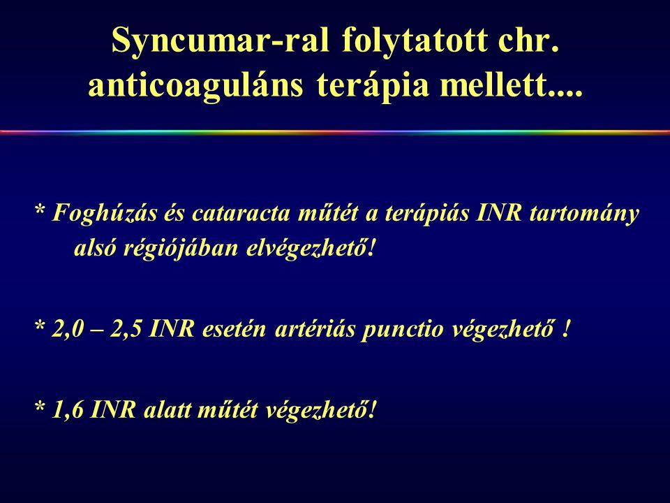 Syncumar-ral folytatott chr. anticoaguláns terápia mellett.... * Foghúzás és cataracta műtét a terápiás INR tartomány alsó régiójában elvégezhető! * 2