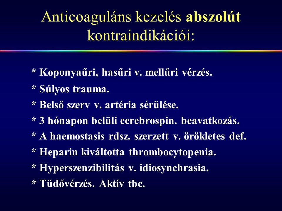 Anticoaguláns kezelés abszolút kontraindikációi: * Koponyaűri, hasűri v. mellűri vérzés. * Súlyos trauma. * Belső szerv v. artéria sérülése. * 3 hónap