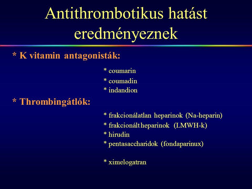 Antithrombotikus hatást eredményeznek * K vitamin antagonisták: * coumarin * coumadin * indandion * Thrombingátlók: * frakcionálatlan heparinok (Na-he