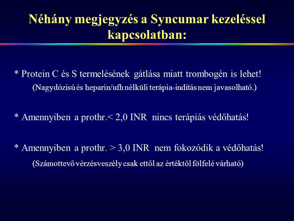 Néhány megjegyzés a Syncumar kezeléssel kapcsolatban: * Protein C és S termelésének gátlása miatt trombogén is lehet! (Nagydózisú és heparin/ufh nélkü