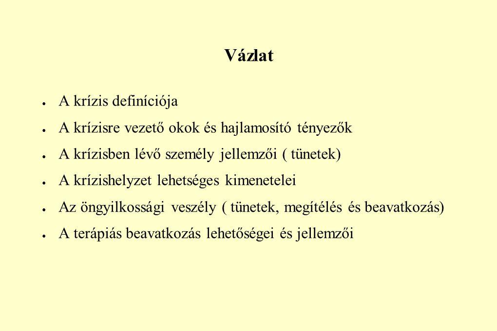 Vázlat ● A krízis definíciója ● A krízisre vezető okok és hajlamosító tényezők ● A krízisben lévő személy jellemzői ( tünetek) ● A krízishelyzet lehet