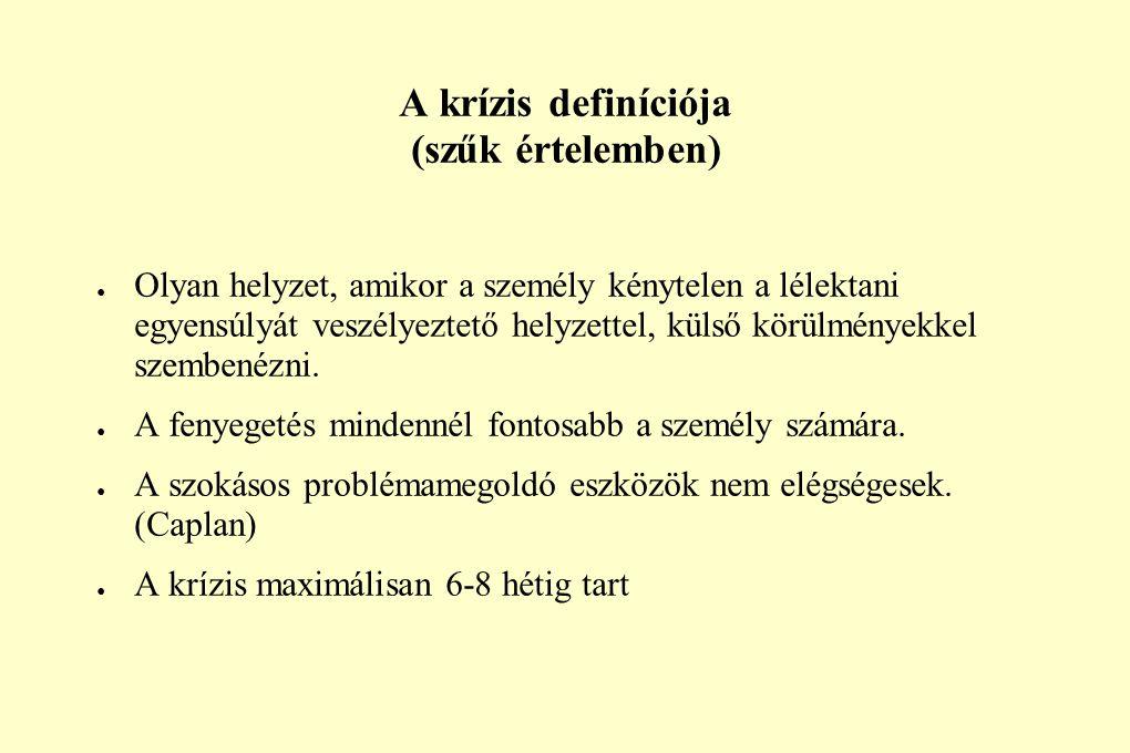 A krízis definíciója (szűk értelemben) ● Olyan helyzet, amikor a személy kénytelen a lélektani egyensúlyát veszélyeztető helyzettel, külső körülmények