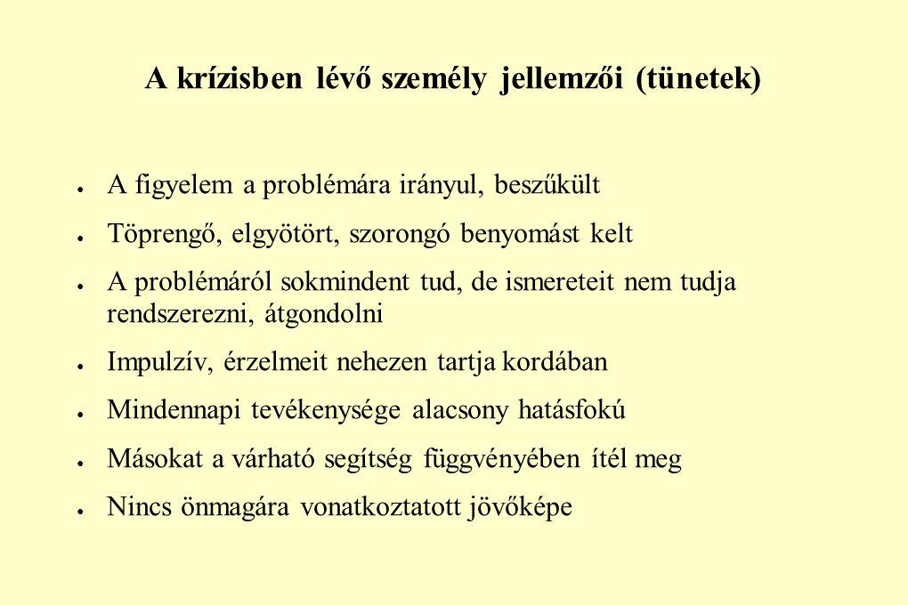 A krízisben lévő személy jellemzői (tünetek) ● A figyelem a problémára irányul, beszűkült ● Töprengő, elgyötört, szorongó benyomást kelt ● A problémár