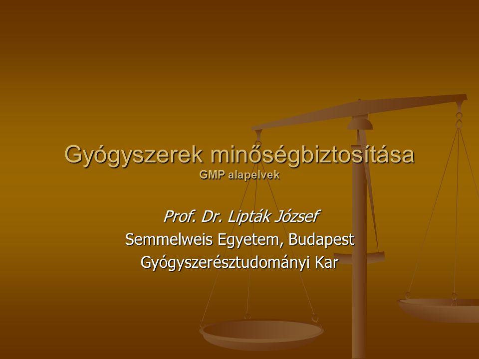 Gyógyszerek minőségbiztosítása GMP alapelvek Prof. Dr. Lipták József Semmelweis Egyetem, Budapest Gyógyszerésztudományi Kar