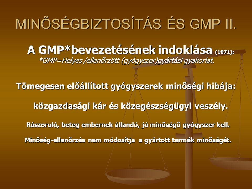 MINŐSÉGBIZTOSÍTÁS ÉS GMP II. A GMP*bevezetésének indoklása (1971): *GMP=Helyes /ellenőrzött (gyógyszer)gyártási gyakorlat. Tömegesen előállított gyógy