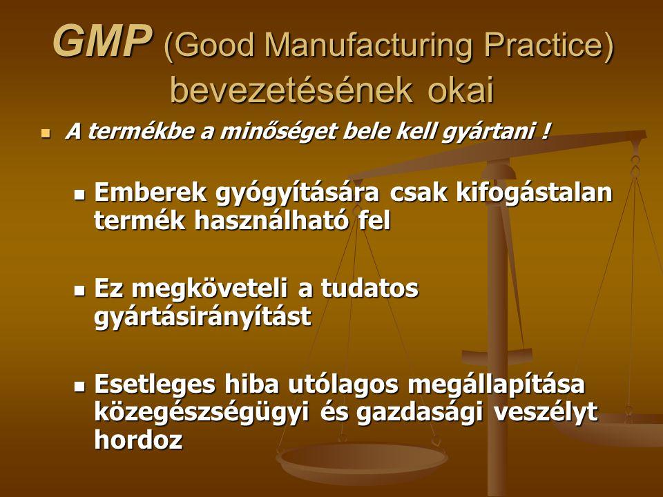 GMP (Good Manufacturing Practice) bevezetésének okai A termékbe a minőséget bele kell gyártani ! A termékbe a minőséget bele kell gyártani ! Emberek g