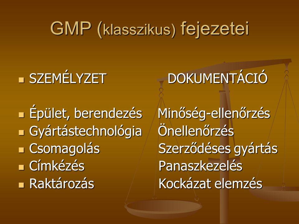 GMP ( klasszikus) fejezetei SZEMÉLYZETDOKUMENTÁCIÓ SZEMÉLYZETDOKUMENTÁCIÓ Épület, berendezés Minőség-ellenőrzés Épület, berendezés Minőség-ellenőrzés
