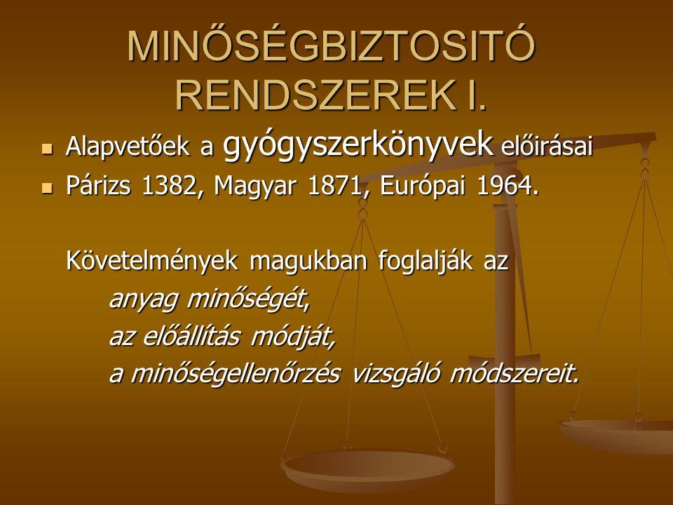 MINŐSÉGBIZTOSITÓ RENDSZEREK I. Alapvetőek a gyógyszerkönyvek előirásai Alapvetőek a gyógyszerkönyvek előirásai Párizs 1382, Magyar 1871, Európai 1964.