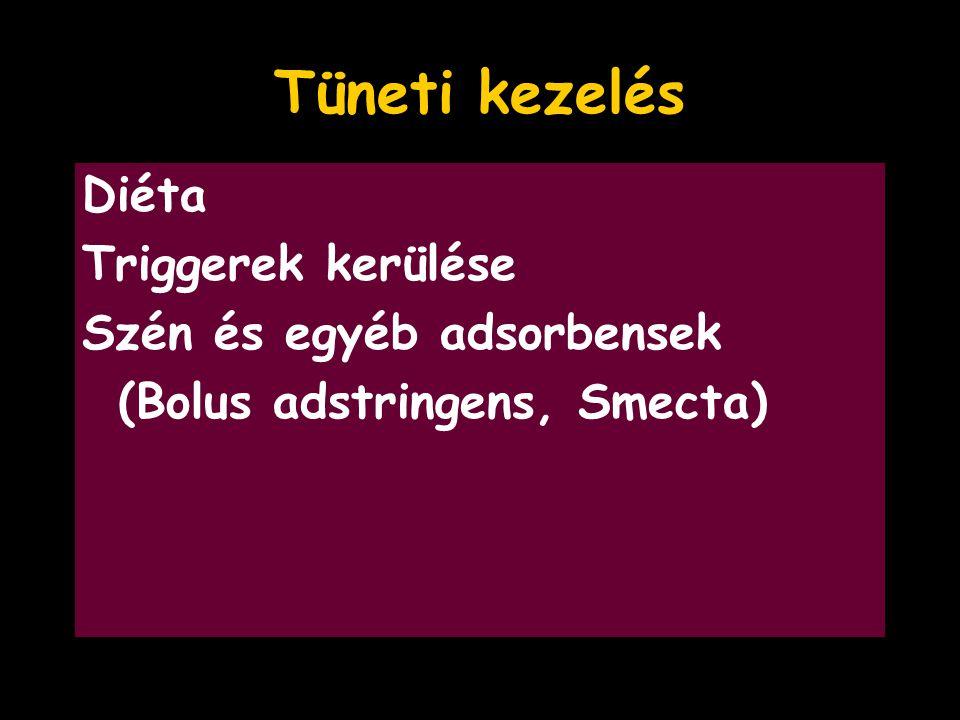 Tüneti kezelés Diéta Triggerek kerülése Szén és egyéb adsorbensek (Bolus adstringens, Smecta)