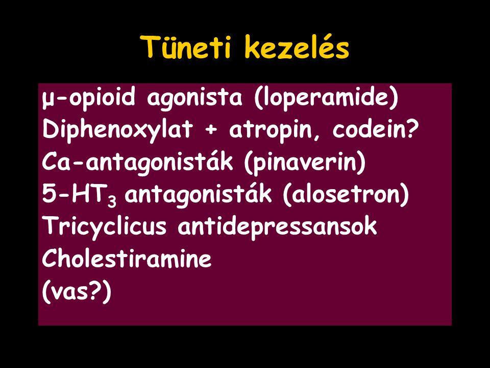Tüneti kezelés μ-opioid agonista (loperamide) Diphenoxylat + atropin, codein? Ca-antagonisták (pinaverin) 5-HT 3 antagonisták (alosetron) Tricyclicus