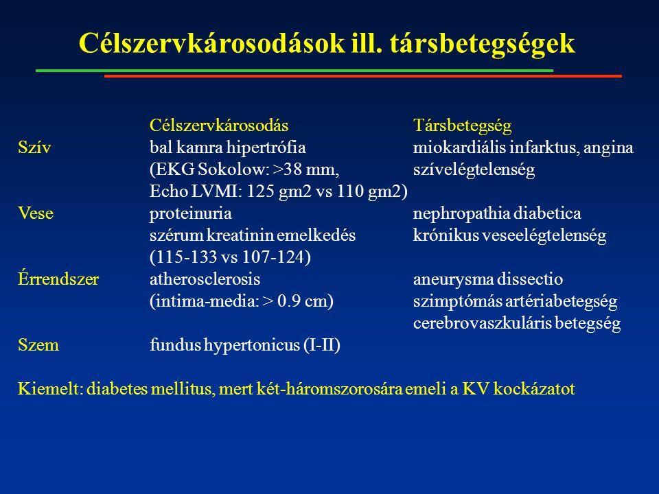 Célszervkárosodások ill. társbetegségek CélszervkárosodásTársbetegség Szívbal kamra hipertrófiamiokardiális infarktus, angina (EKG Sokolow: >38 mm,szí