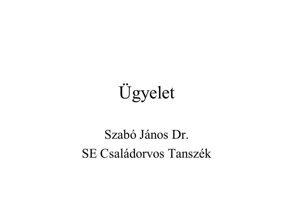 Ügyelet Szabó János Dr. SE Családorvos Tanszék