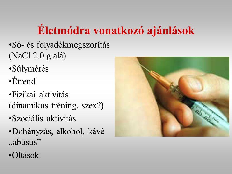 """Életmódra vonatkozó ajánlások Só- és folyadékmegszorítás (NaCl 2.0 g alá) Súlymérés Étrend Fizikai aktivitás (dinamikus tréning, szex?) Szociális aktivitás Dohányzás, alkohol, kávé """"abusus Oltások"""