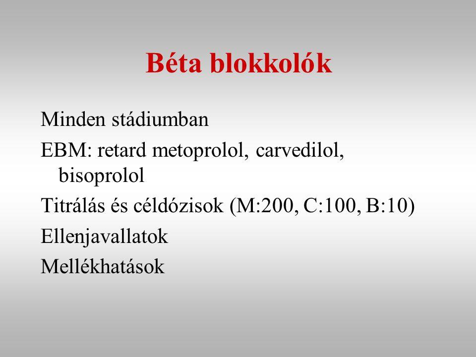 Béta blokkolók Minden stádiumban EBM: retard metoprolol, carvedilol, bisoprolol Titrálás és céldózisok (M:200, C:100, B:10) Ellenjavallatok Mellékhatások