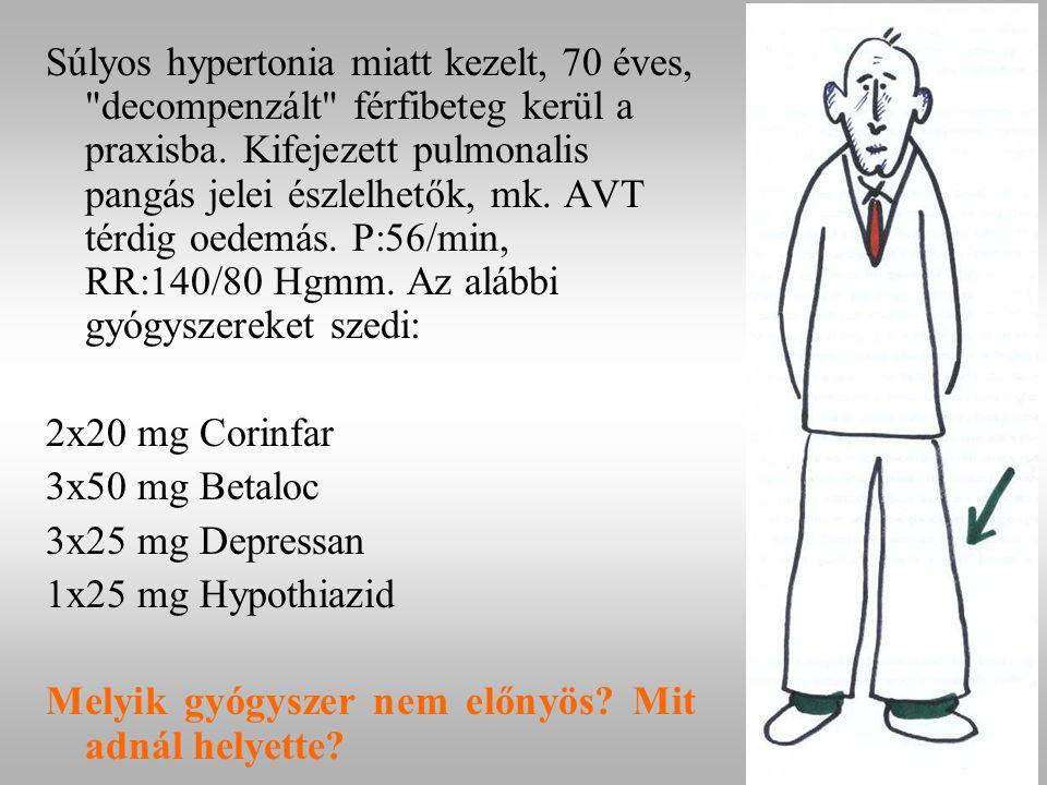 Súlyos hypertonia miatt kezelt, 70 éves, decompenzált férfibeteg kerül a praxisba.