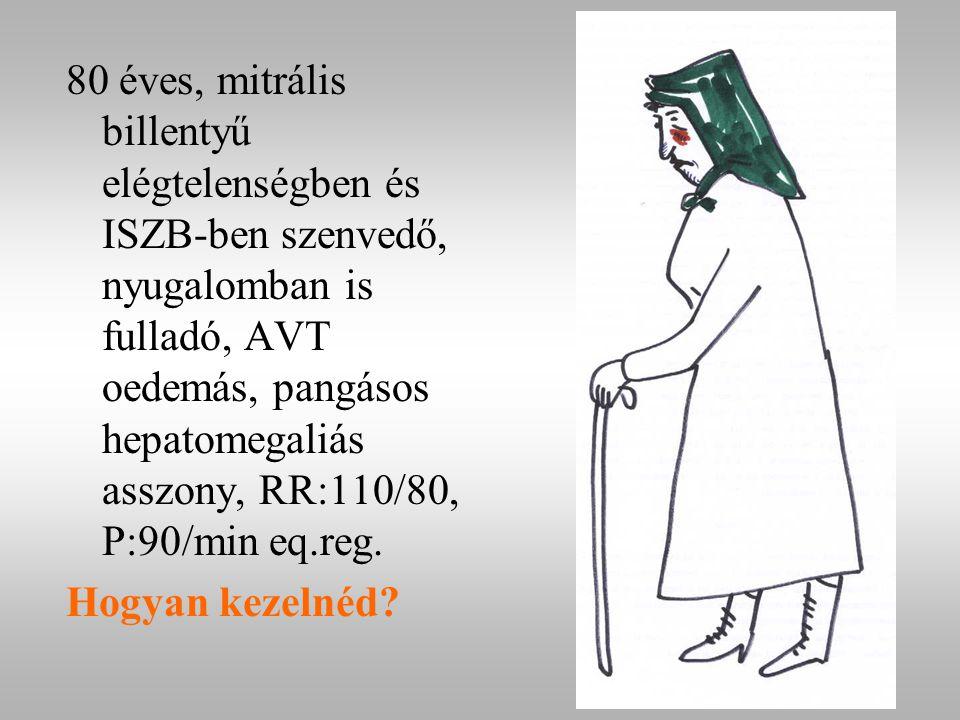 80 éves, mitrális billentyű elégtelenségben és ISZB-ben szenvedő, nyugalomban is fulladó, AVT oedemás, pangásos hepatomegaliás asszony, RR:110/80, P:90/min eq.reg.