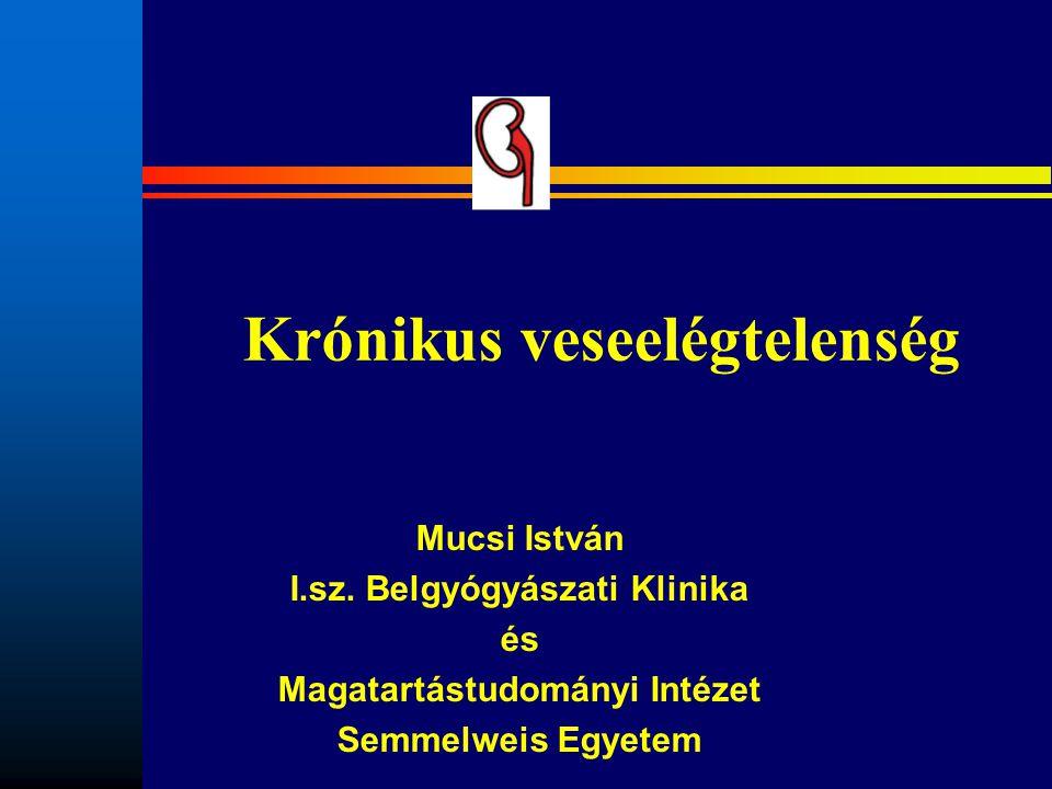 Krónikus veseelégtelenség Mucsi István I.sz. Belgyógyászati Klinika és Magatartástudományi Intézet Semmelweis Egyetem