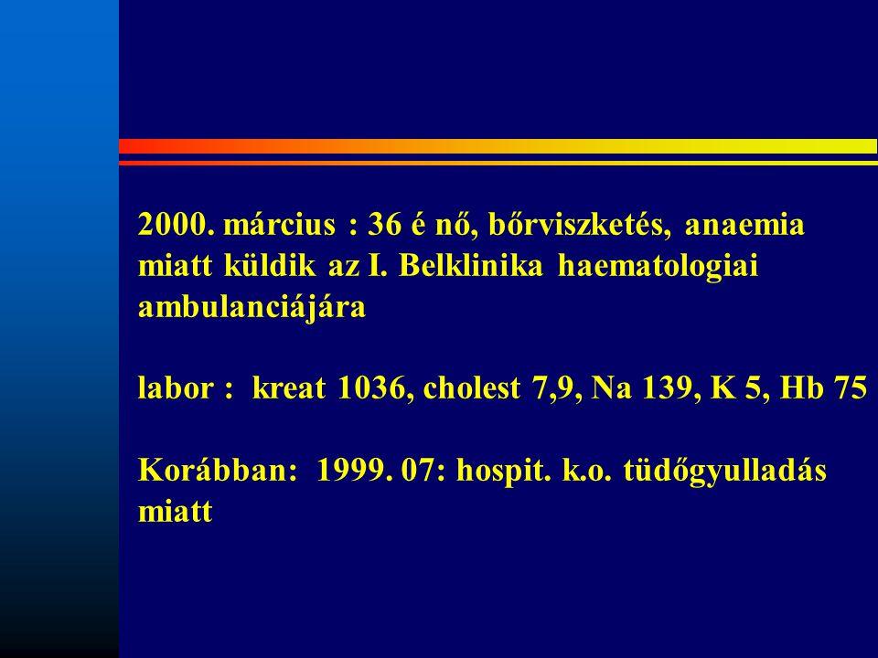 2000. március : 36 é nő, bőrviszketés, anaemia miatt küldik az I. Belklinika haematologiai ambulanciájára labor : kreat 1036, cholest 7,9, Na 139, K 5