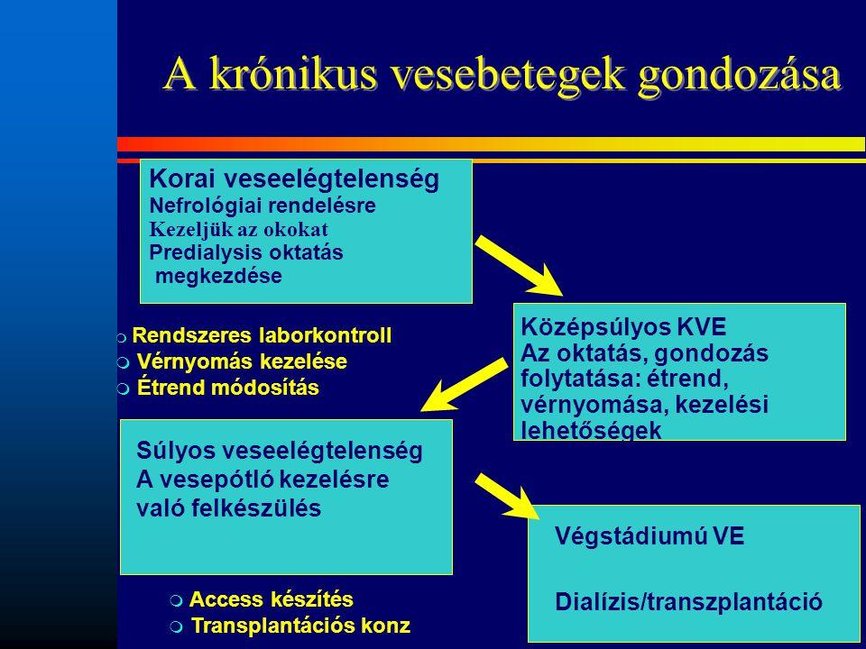 A krónikus vesebetegek gondozása Végstádiumú VE Dialízis/transzplantáció Súlyos veseelégtelenség A vesepótló kezelésre való felkészülés m Rendszeres l