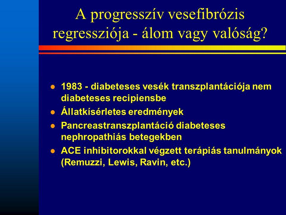 A progresszív vesefibrózis regressziója - álom vagy valóság? l 1983 - diabeteses vesék transzplantációja nem diabeteses recipiensbe l Állatkísérletes