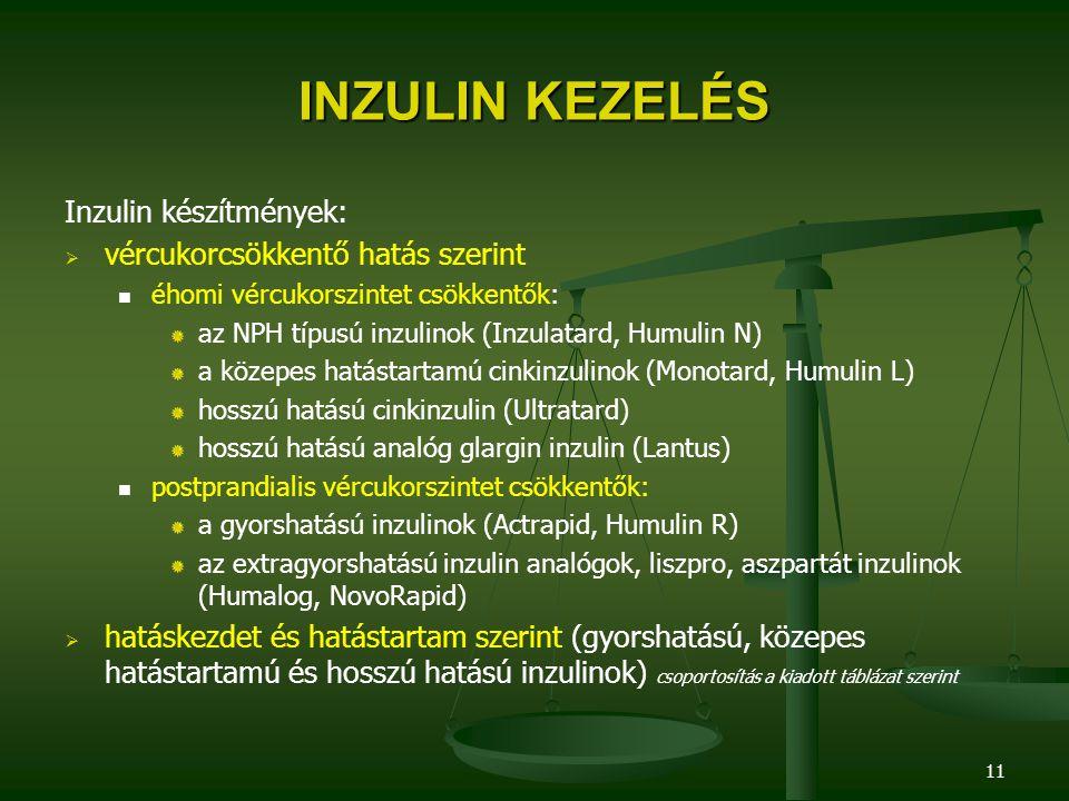 11 INZULIN KEZELÉS Inzulin készítmények:   vércukorcsökkentő hatás szerint éhomi vércukorszintet csökkentők: az NPH típusú inzulinok (Inzulatard, Hu