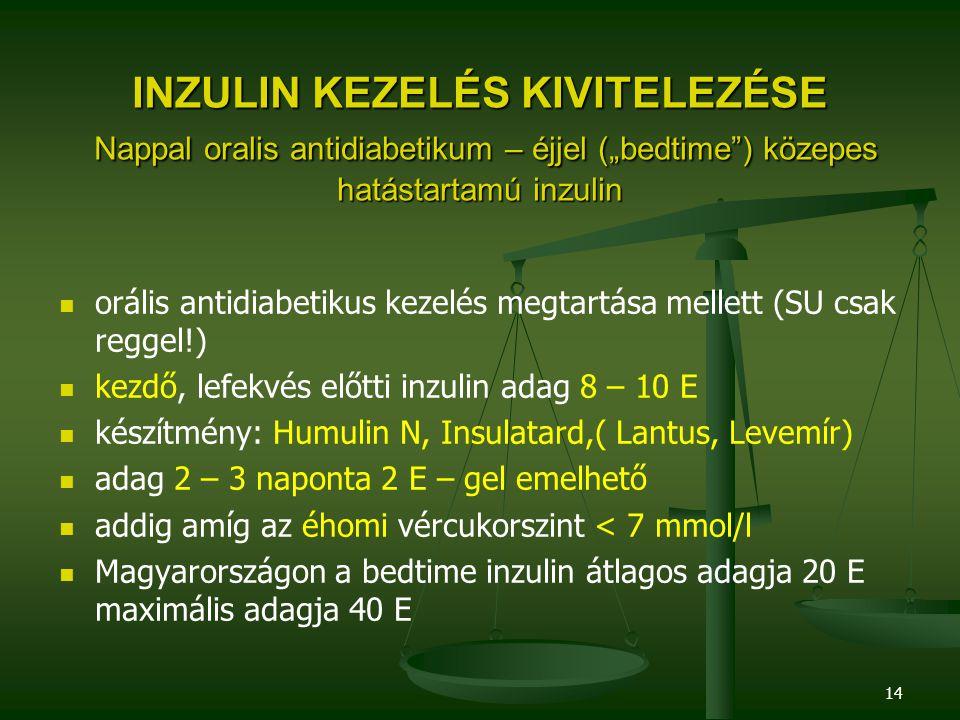 """14 INZULIN KEZELÉS KIVITELEZÉSE Nappal oralis antidiabetikum – éjjel (""""bedtime"""") közepes hatástartamú inzulin orális antidiabetikus kezelés megtartása"""