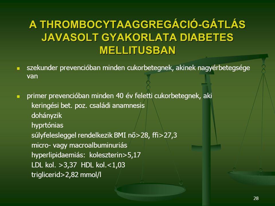 28 A THROMBOCYTAAGGREGÁCIÓ-GÁTLÁS JAVASOLT GYAKORLATA DIABETES MELLITUSBAN szekunder prevencióban minden cukorbetegnek, akinek nagyérbetegsége van pri