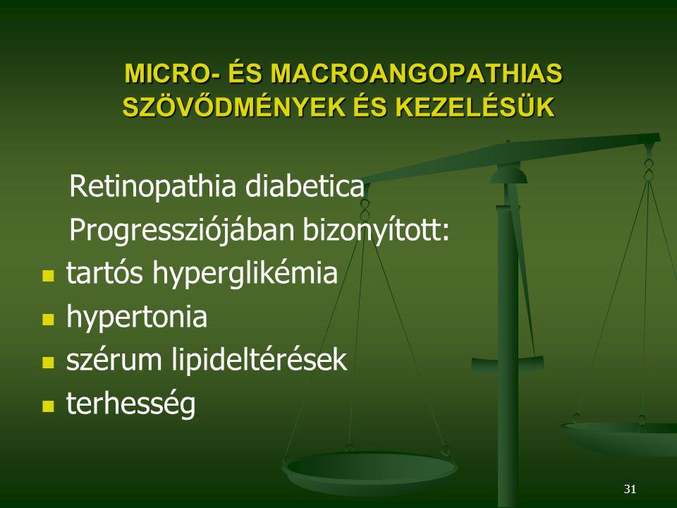 31 MICRO- ÉS MACROANGOPATHIAS SZÖVŐDMÉNYEK ÉS KEZELÉSÜK MICRO- ÉS MACROANGOPATHIAS SZÖVŐDMÉNYEK ÉS KEZELÉSÜK Retinopathia diabetica Progressziójában b