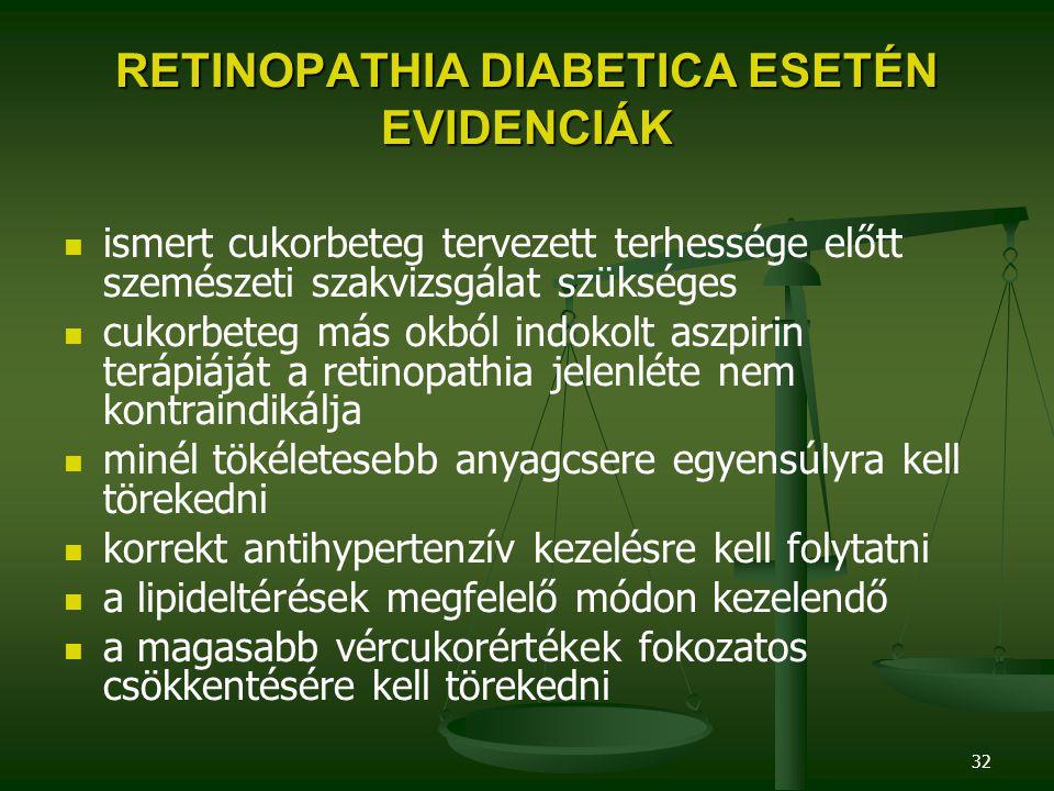 32 RETINOPATHIA DIABETICA ESETÉN EVIDENCIÁK ismert cukorbeteg tervezett terhessége előtt szemészeti szakvizsgálat szükséges cukorbeteg más okból indok