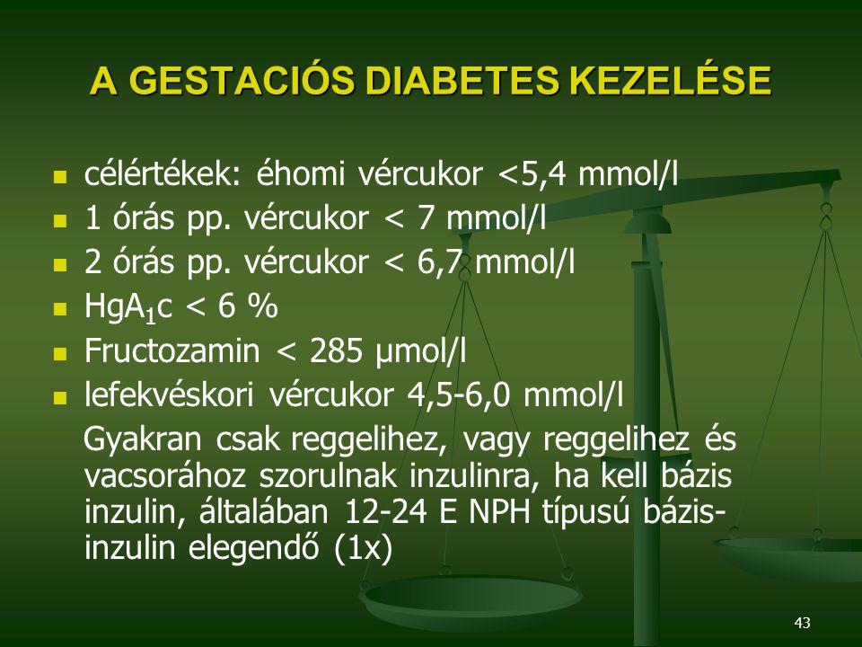 43 A GESTACIÓS DIABETES KEZELÉSE célértékek: éhomi vércukor <5,4 mmol/l 1 órás pp. vércukor < 7 mmol/l 2 órás pp. vércukor < 6,7 mmol/l HgA 1 c < 6 %