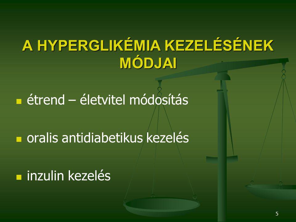 5 A HYPERGLIKÉMIA KEZELÉSÉNEK MÓDJAI étrend – életvitel módosítás oralis antidiabetikus kezelés inzulin kezelés