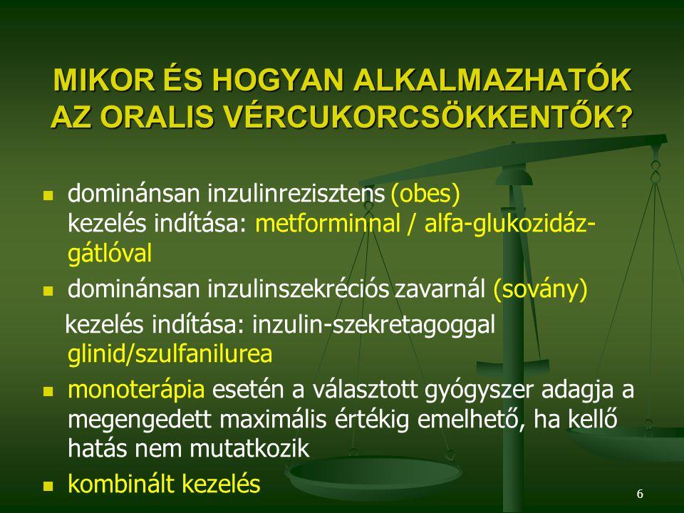 6 MIKOR ÉS HOGYAN ALKALMAZHATÓK AZ ORALIS VÉRCUKORCSÖKKENTŐK? dominánsan inzulinrezisztens (obes) kezelés indítása: metforminnal / alfa-glukozidáz- gá