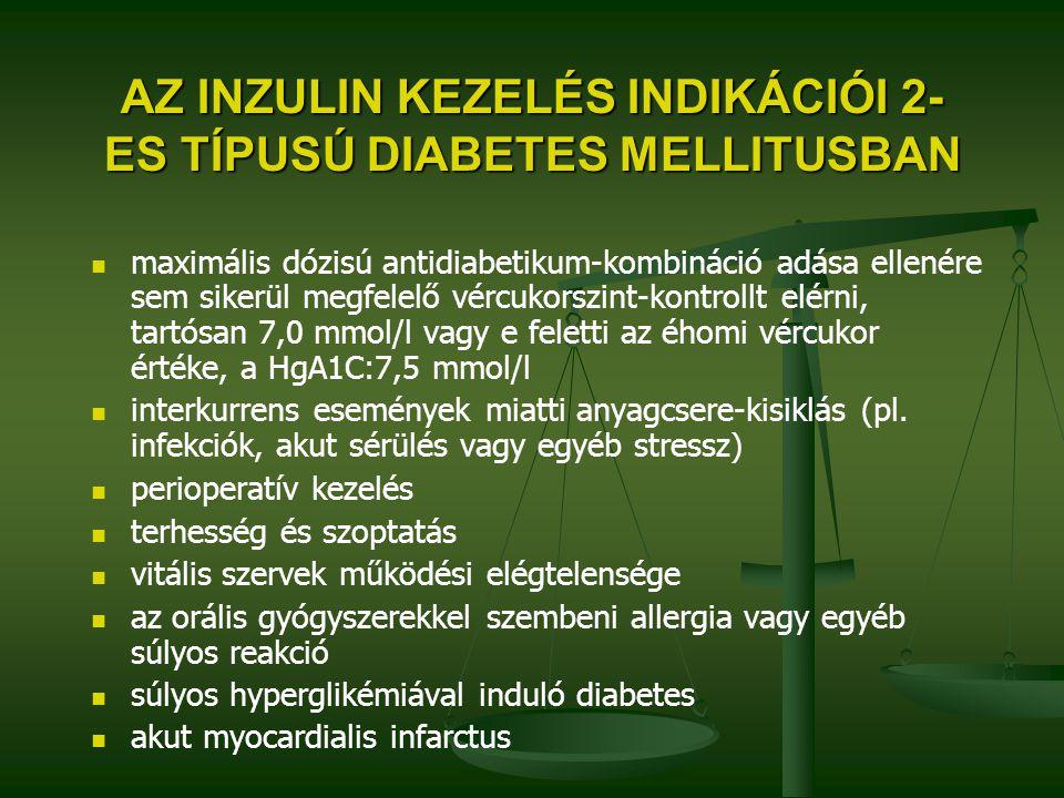 AZ INZULIN KEZELÉS INDIKÁCIÓI 2- ES TÍPUSÚ DIABETES MELLITUSBAN maximális dózisú antidiabetikum-kombináció adása ellenére sem sikerül megfelelő vércuk