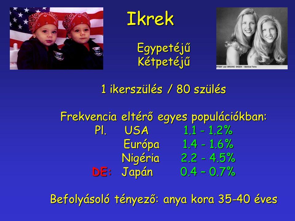 IkrekEgypetéjűKétpetéjű 1 ikerszülés / 80 szülés Frekvencia eltérő egyes populációkban: Pl.USA1.1 - 1.2% Európa 1.4 - 1.6% Nigéria2.2 - 4.5% DE:Japán0