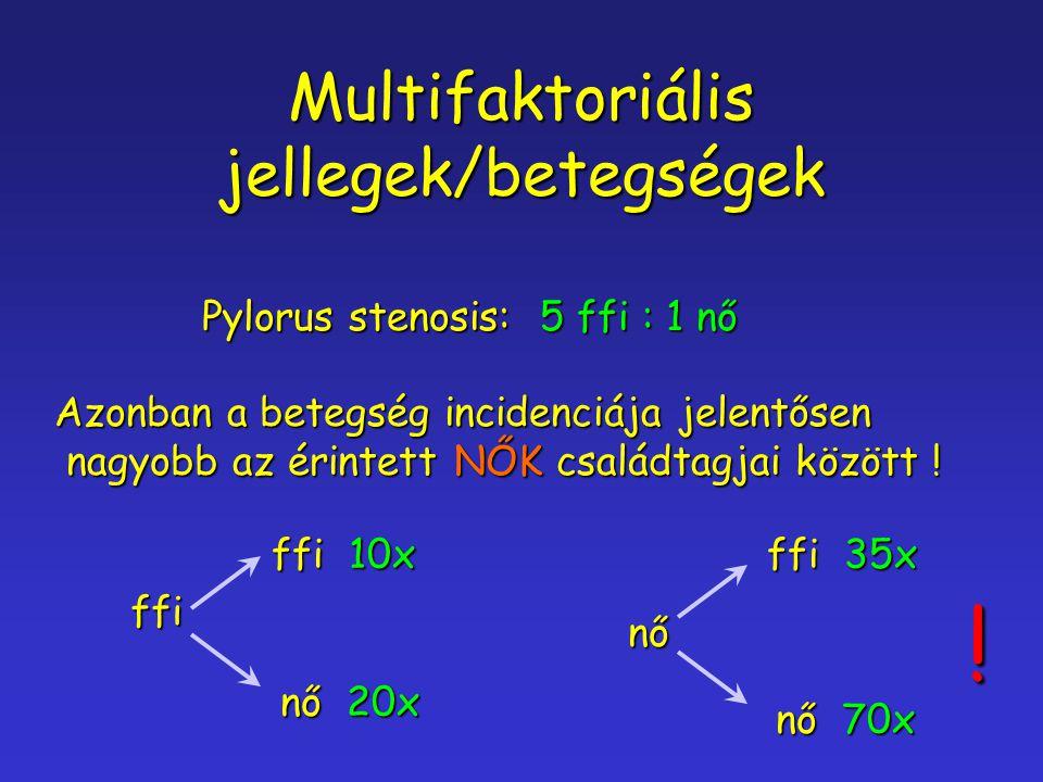 Multifaktoriális jellegek/betegségek Pylorus stenosis: 5 ffi : 1 nő Azonban a betegség incidenciája jelentősen nagyobb az érintett NŐK családtagjai kö