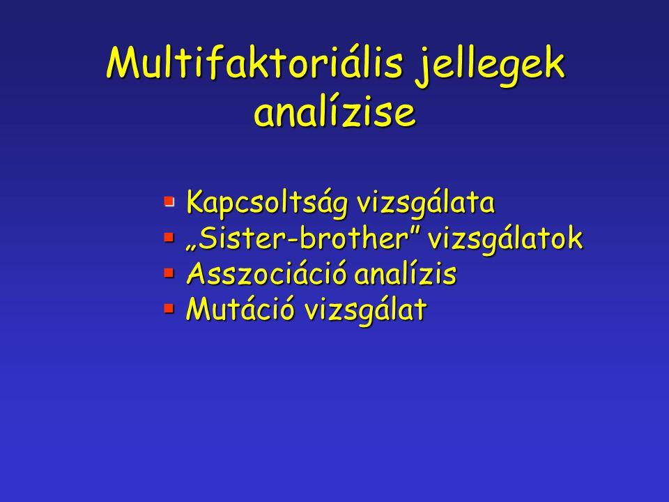 """Multifaktoriális jellegek analízise  Kapcsoltság vizsgálata  """"Sister-brother"""" vizsgálatok  Asszociáció analízis  Mutáció vizsgálat"""