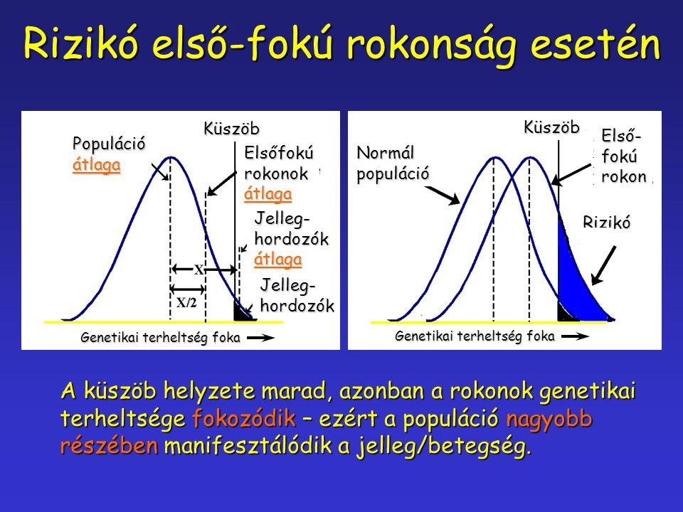 Rizikó első-fokú rokonság esetén Genetikai terheltség foka Küszöb Populációátlaga Elsőfokúrokonokátlaga Jelleg-hordozókátlaga Jelleg-hordozók Küszöb E