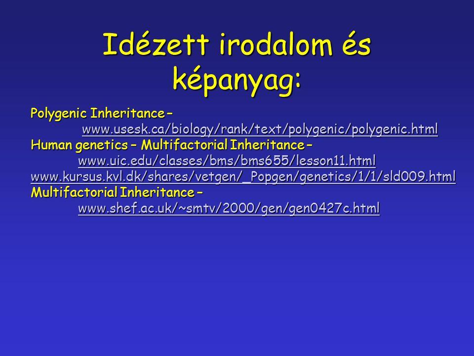 Idézett irodalom és képanyag: Polygenic Inheritance – www.usesk.ca/biology/rank/text/polygenic/polygenic.html www.usesk.ca/biology/rank/text/polygenic