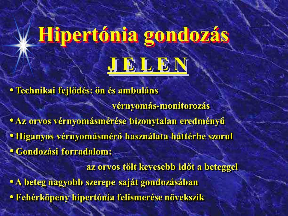 Hipertónia gondozás M Ú L T Gondozás a rendelőben Vérnyomásellenőrzés az orvoshozfordulás leggyakoribb oka Csak az orvos tud vérnyomást mérni Csak a higanyos mérő pontos Az orvos egyedül dönt A fehérköpeny hipertóniát nem veszik figyelembe A fehérköpeny hipertóniát nem veszik figyelembe