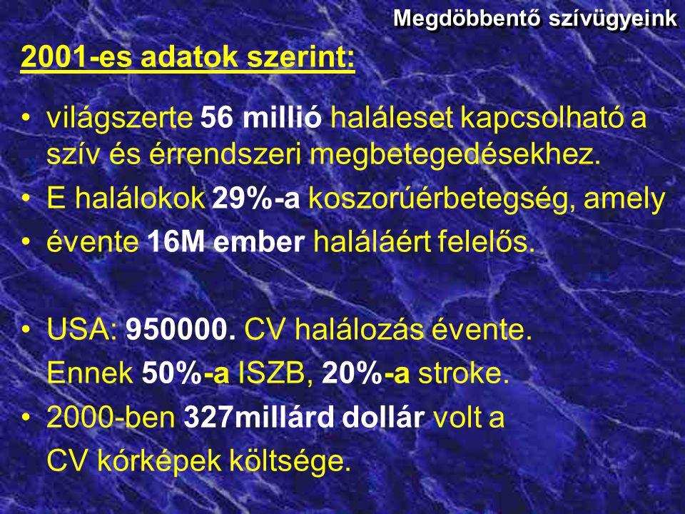 A kardiovaszkuláris halálozás aránya Európában Férfiak(%) Nők (%) 4438 4531 3834 3729 3229 4039 57 45 Férfiak(%) Nők (%) 4231 4537 4635 4434 2421 2930