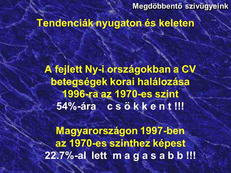 Tendenciák nyugaton és keleten 1970-ben Finnország, Norvégia, Nagy-Britannia a CV halálozás listavezetői. 1980-tól egyértelmű folyamatos csökkenés 199