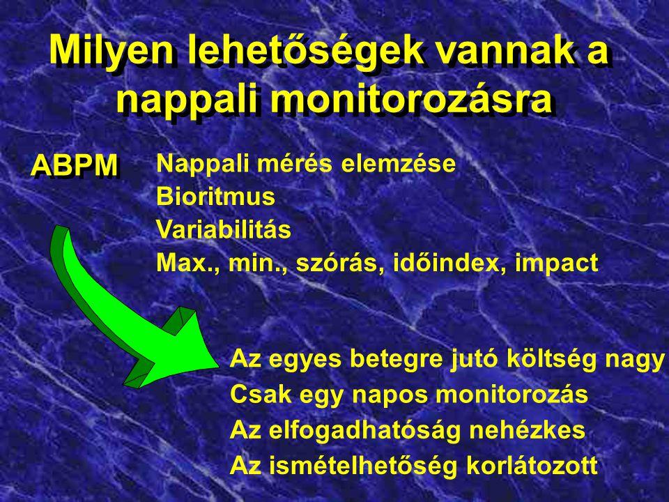 A monitorozás logikai folyamata Kazuális (rendelői) mérések Teendő? Hogyan változik a vérnyomás? kazuális kontrol otthoni monitorozás OMRON IC ABPM Ér