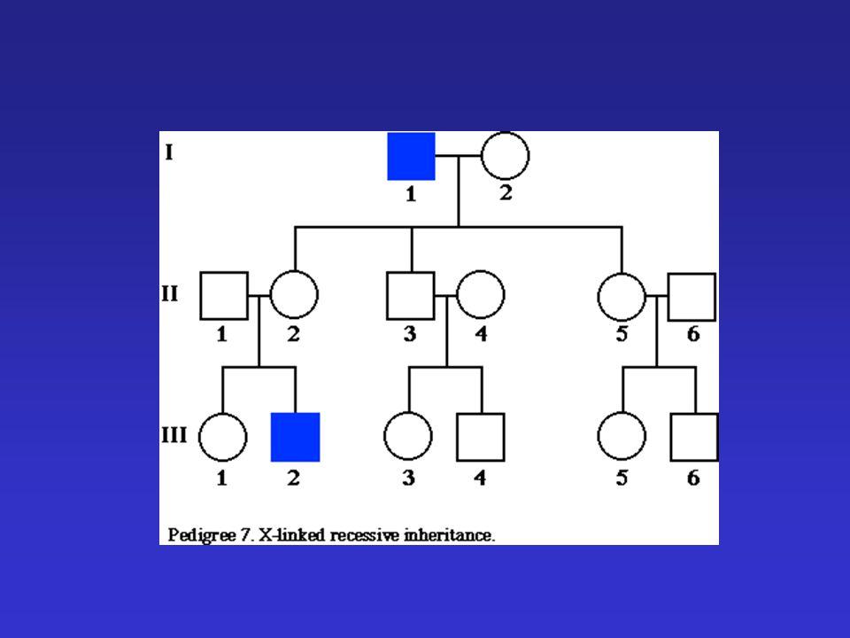  X - Recesszív  A leggyakoribb izomdisztrófia  Duchenne típus - 6 éves kor előtti kezdet - fokozatosan súlyosbodó izomgyengeség - szívizom érintettsége - ascendáló jelleg - szellemi visszamaradottság - kóros EKG és EMG - Se creatinin fokzott (izom pusztulás)  Becker típus - 20-30 éves korban kezdődik - descendaló jelleg Duchenne izomdisztrófia