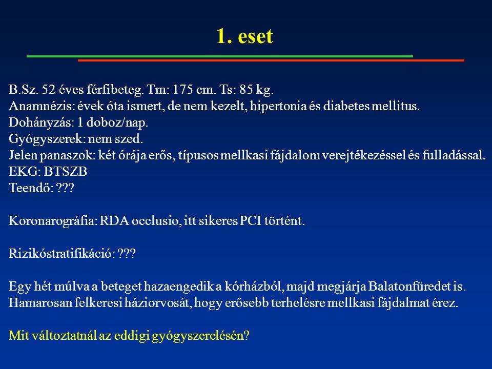 1. eset B.Sz. 52 éves férfibeteg. Tm: 175 cm. Ts: 85 kg. Anamnézis: évek óta ismert, de nem kezelt, hipertonia és diabetes mellitus. Dohányzás: 1 dobo