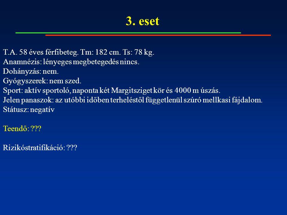 3. eset T.A. 58 éves férfibeteg. Tm: 182 cm. Ts: 78 kg. Anamnézis: lényeges megbetegedés nincs. Dohányzás: nem. Gyógyszerek: nem szed. Sport: aktív sp