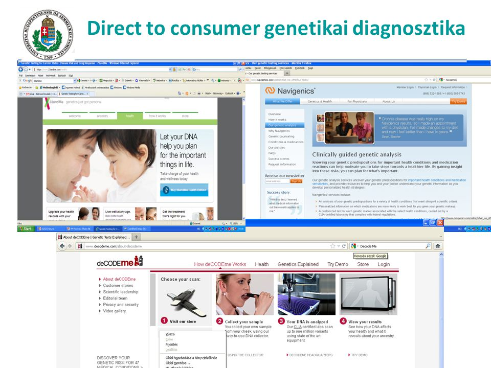 Direct to consumer genetikai diagnosztika