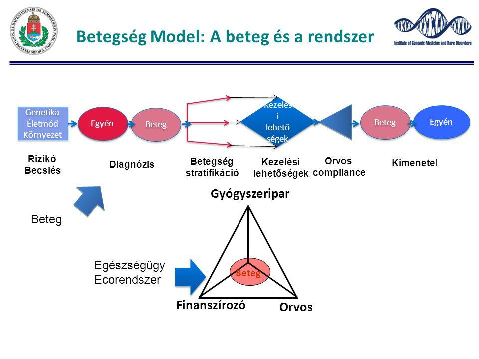Betegség Model: A beteg és a rendszer Genetika Életmód Környezet Genetika Életmód Környezet Egyén Beteg Kezelés i lehető ségek Kezelés i lehető ségek Beteg Egyén Rizikó Becslés Diagnózis Betegség stratifikáció Kezelési lehetőségek Orvos compliance Kimenetel Beteg Orvos Finanszírozó Gyógyszeripar Beteg Egészségügy Ecorendszer
