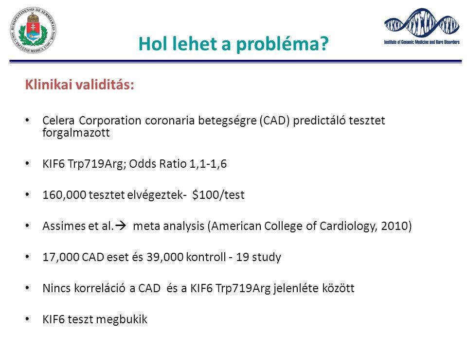 Hol lehet a probléma? Klinikai validitás: Celera Corporation coronaria betegségre (CAD) predictáló tesztet forgalmazott KIF6 Trp719Arg; Odds Ratio 1,1