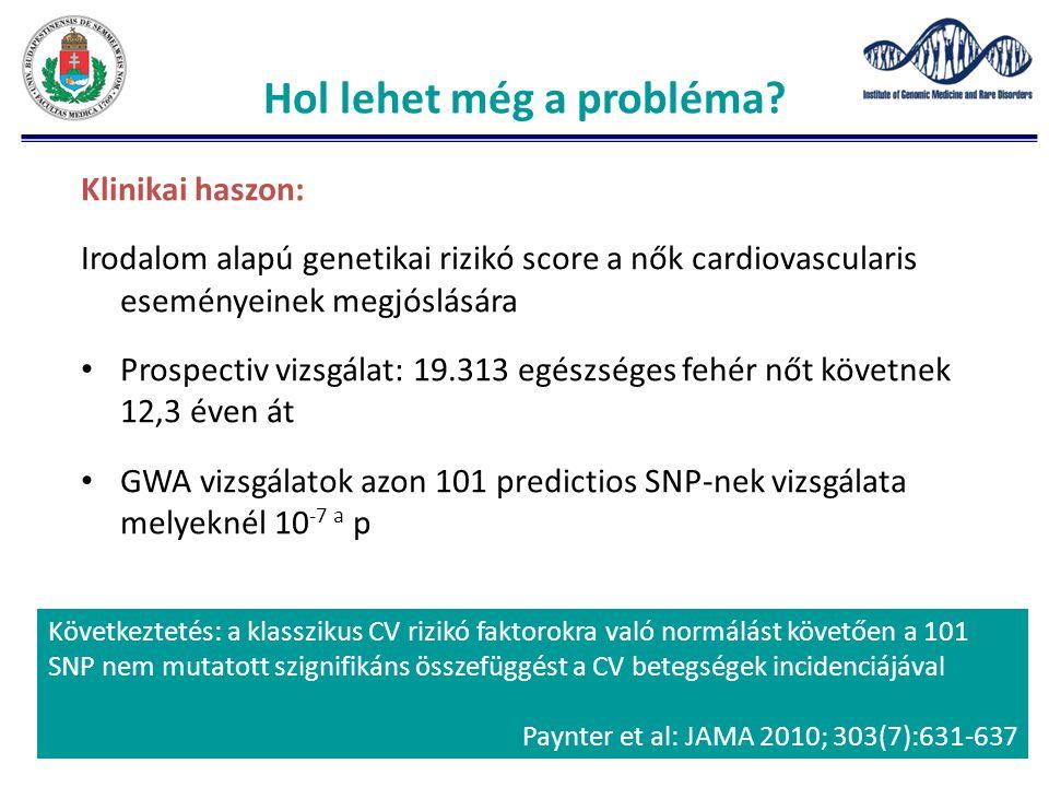Klinikai haszon: Irodalom alapú genetikai rizikó score a nők cardiovascularis eseményeinek megjóslására Prospectiv vizsgálat: 19.313 egészséges fehér nőt követnek 12,3 éven át GWA vizsgálatok azon 101 predictios SNP-nek vizsgálata melyeknél 10 -7 a p Hol lehet még a probléma.