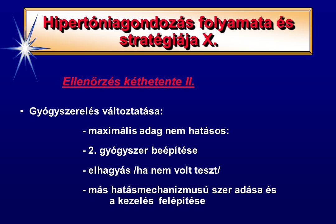 Ellenőrzés kéthetente II. Gyógyszerelés változtatása: - maximális adag nem hatásos: - 2. gyógyszer beépítése - elhagyás /ha nem volt teszt/ - más hatá